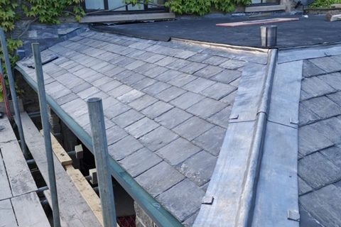 slate roof and leading