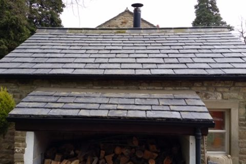Installation of Greys Artstone artificial stone slates to Fox Cottage Rylstone