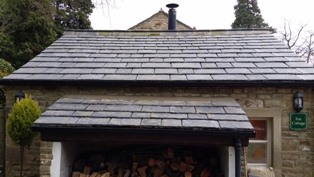 Installation of Greys Artstone artificial stone slates to Fox Cottage Rylstone